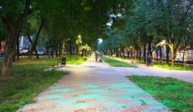 Parque Zvezdinka de la ciudad con la igualación de las estrellas azules Imagen de archivo libre de regalías