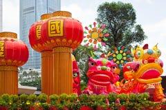 Parquee con el dragón tradicional de la decoración para el día de fiesta chino Imagen de archivo