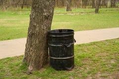 Parquee el cubo de la basura por el árbol con los árboles y la hierba Imagen de archivo libre de regalías