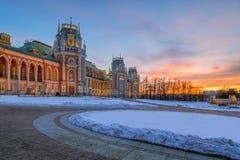 Parquee Tsaritsyno en el final de la tarde del invierno Imagenes de archivo