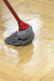 Parquet cleaning with mop Stock Image