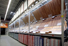 Parquet department in construction materials store Stock Photo