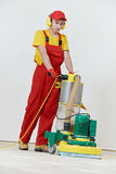 Parquet Floor maintenance by grinding machine Stock Photo