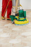 Parquet Floor maintenance by grinding machine Royalty Free Stock Photo