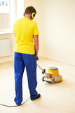 Parquet Floor maintenance by grinding machine Stock Images