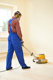 Parquet Floor maintenance by grinding machine Royalty Free Stock Images