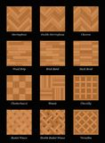 Parquet Floor Pattern Parquetry Black. Parquet floor pattern - most popular parquetry wood flooring set with names - isolated vector illustration on black Stock Photography