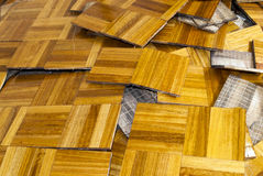 Parquet flooring renovation. Removal of old timber parquet flooring Royalty Free Stock Photo