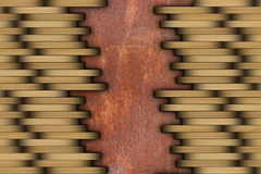 Parquet installed on rusty surface Stock Photo