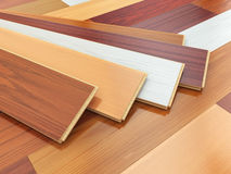 Parquet o laminate wooden planks of the different colors. On the floor. 3d illustration Stock Photography