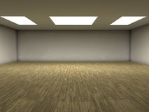 Parquet room. An emty room with white ceiling lights and parquet floor. You can place your objects here Stock Photo