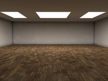 Parquet room. An emty room with white ceiling lights and parquet floor. You can place your objects here Stock Images