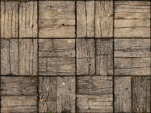 Parquet Style, Wooden Patio with Alternating Woodgrain Stock Image