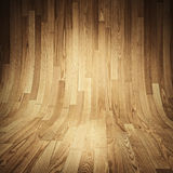Parquet wood texture - Room covered with wooden planks - Wooden floor and walls. Stock Images