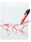 Parquez la carte du monde de retrait sur l'encre de rouge de papier de cahier Images libres de droits