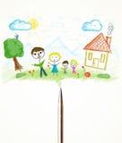Parquez le plan rapproché avec un dessin d'une famille Photographie stock libre de droits