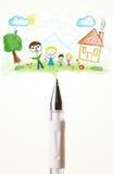Parquez le plan rapproché avec un dessin d'une famille Image stock