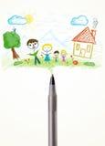 Parquez le plan rapproché avec un dessin d'une famille Photographie stock