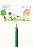 Parquez le plan rapproché avec un dessin d'une famille Image libre de droits