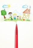 Parquez le plan rapproché avec un dessin d'une famille Images stock