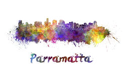 Parramatta skyline in watercolor Royalty Free Stock Photo