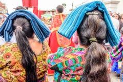 Indigenous Maya women dressed in traditonal costume, Guatemala stock image