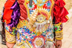 Traditional folk dancer costume, Guatemala. Parramos, Guatemala - December 28, 2016: Traditional folk dancer costume for Dance of the Moors & Christians in royalty free stock photo