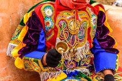 Traditional folk dancer costume, Guatemala. Parramos, Guatemala - December 28, 2016: Traditional folk dancer costume for Dance of the Moors & Christians in royalty free stock images