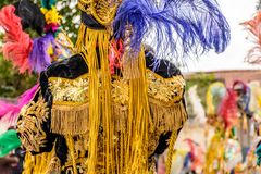 Traditional folk dancer costume & headdress, Guatemala. Parramos, Guatemala - December 28, 2016: Traditional folk dancer costume & feather headdress for Dance of royalty free stock photos