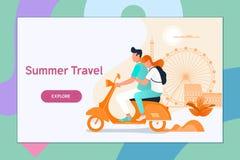 Parresande på en sparkcykel Sommarsemestern, turism och resan, par reser Plan vektorillustration royaltyfri illustrationer