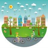 Parridningcyklar parkerar offentligt, illustrationen, lägenhetdesign Royaltyfri Fotografi