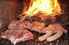 Parrilla de la barbacoa con la carne Fotos de archivo libres de regalías