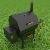 Parrilla de la barbacoa del horno en la hierba verde ilustración del vector