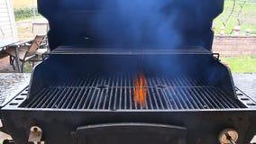 Parrilla del Bbq y carbones que brillan intensamente Usted puede ver más Bbq, comida asada a la parrilla, fuego almacen de metraje de vídeo
