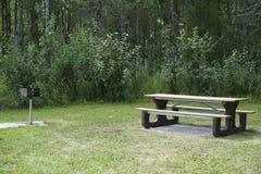Parrilla del Bbq y tabla de Picknick Imagen de archivo libre de regalías