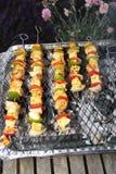 Parrilla y kebabs de la barbacoa Fotos de archivo