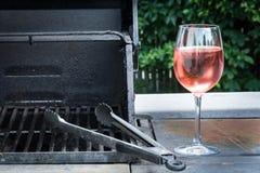 Parrilla y vino Imagen de archivo