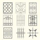 Parrillas de ventana del hierro Imagenes de archivo