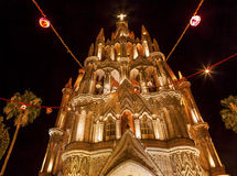 Parroquia Church Night San Miguel de Allende Mexico Stock Image