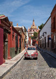 Parroquia de San Miguel Arcangel Cathedral in Mexico as Viewed from a Nearby Narrow Street Royalty Free Stock Photography