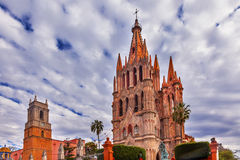 Parroquia Jardin Archangel Church San Miguel Mexico. Parroquia Archangel church Jardin Town Square San Miguel de Allende, Mexico. Parroaguia created in 1600s stock images