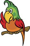 Parrot. Cute cartoon parrot sitting on a tree branch. Very useful for logo or mascot vector illustration