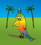 Parrot. The vector image of a multi-coloured parrot on a background of palm trees Vector Illustration