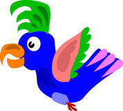 Parrot. The cheerful and motley parrot flies towards with adventures Stock Image