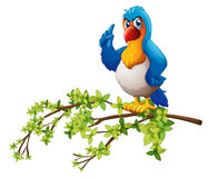 A parrot above the branch of a tree. Illustration of a parrot above the branch of a tree on a white background Stock Images