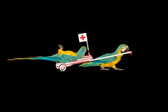 Parrot ambulance driving to hospital Royalty Free Stock Images