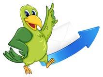 Parrot, arrow and envelop Stock Photo