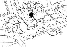 Parrot artist. Black-and-white illustration (coloring page): funny parrot draws a picture Stock Photography