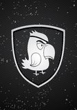 Parrot badge. Vector pirate parrot badge on black background Stock Photography