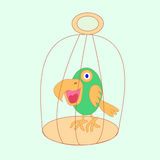 Parrot in a cage. Cartoon drawn parrot inside a cage Royalty Free Stock Photo
